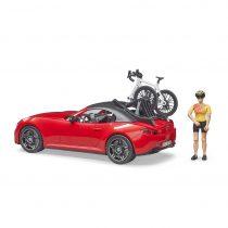 Coche Roadster Descapotable Con Bicicleta de Carreras Y Ciclista- Ref. 3485